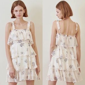 NWT Storia Tiered Floral Print Ruffle Detail Dress